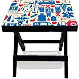 Nutcase Designer Foldable Wooden Side Table - Portable Multipurpose Solid Wood Compact Quick Folding Indoor/Outdoor...