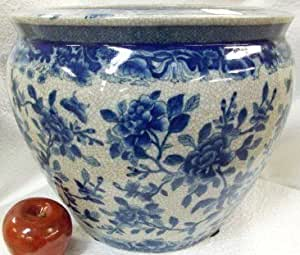 Peony bush on blue and white porcelain fish for Fish bowl amazon
