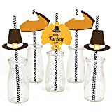 Happy Turkey Day - Thanksgiving Straw Decor with Paper Straws - Set of 24