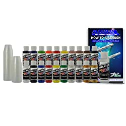 20 MOST POPULAR CREATEX COLORS AIRBRUSH PAINT SET-Airbrush-Hobby-Art - now includes (FREE) pack of 100 - 1 ounce paint mixing cups