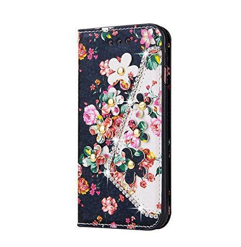 iPhone 6 Plus/6s Plus 5.5 Photo Wallet Case,Auroralove Pink Colorful Flower PU Leather Case for iPhone 6 Plus /6s Plus with Bling Rhinestone Element,Leather Strip,Card Slot and Money Change Bag