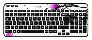 Logitech Wireless Desktop K360 Clavier AZERTY sans-fil Six touches de raccourci Unifying 12 touches de fonctions programmables Fingerprint Flowers
