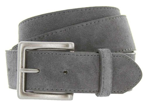 """Square Buckle Suede Leather Casual Jean Belt 1.5"""" Wide Gray 44"""