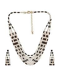 Beautiful Black & White Colour Tone Beads Long Necklace Set By Lazreena