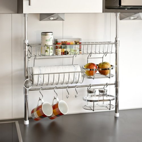 Best Quality Bremermann Telescopic Kitchen Storage With Kitchen Roll Holder Basket And Hooks Best Quality Racks And Holders