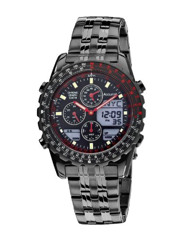 Accurist Men's Quartz Watch with Black Dial Analogue - Digital Display and Black Stainless Steel Plated Bracelet MB776B