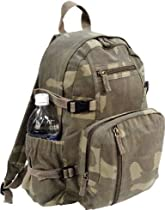 Woodland Camouflage Military Vintage Washed Compact Mini Backpack