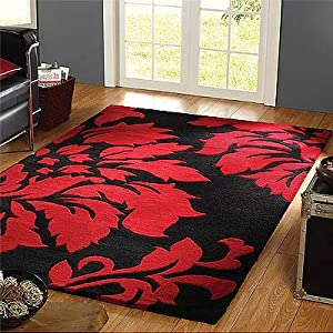 Decotex Matisse Black And Red Thick Wool Rugs Floral