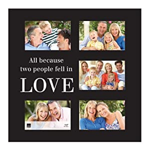 "Kiera Grace ""All Because Two People Feel in Love"" Expression Wood Collage Frame, 16 by 16-Inch, Black"