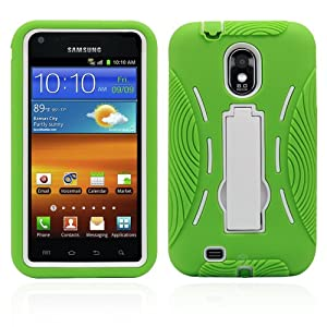 Premium Heavy Duty Hybrid Case (Outer Silicone + Inner Hard Protector Case w/ Kickstand) Galaxy S2 Sprint Samsung Epic Touch 4g (Model SGH D710) - Green and White (MagicMobile Charm Gratis)