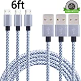 ONSON Android Charger Cable,3Pack 6FT Long Nylon Braided High Speed 2.0 USB to Micro USB Charging Cord Fast Charger Cable for Samsung Galaxy S7/S6/S5/Edge,Note 5/4/3,HTC,LG,Nexus(Gray White)
