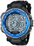 Armitron Sport Mens 40/8301BLU Blue and Silver-Tone Accented Black Resin Strap Chronograph Digital Watch