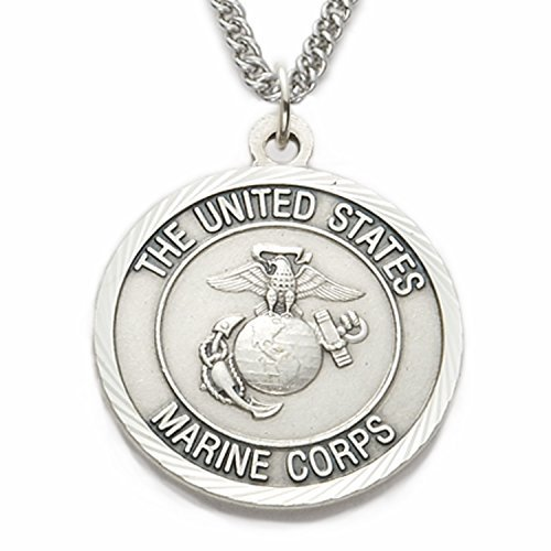 sterling-silver-1-us-marines-corps-medal-w-st-michael-on-back-on-24-stainless-steel-chain-by-truefai