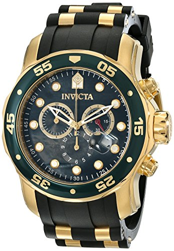 Invicta Pro Diver Men's Quartz Watch with Black Dial  Chronograph display on Black Pu Strap 17883