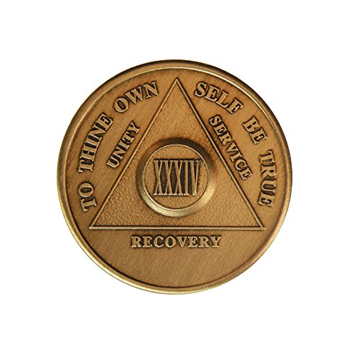 34 Year Bronze AA (Alcoholics Anonymous) - Sober / Sobriety / Birthday / Anniversary / Recovery / Medallion / Coin / Chip by Generic