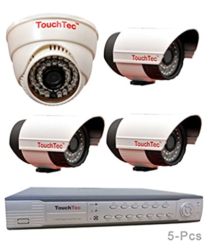 TouchTec 4 Channel D1 DVR +1 Dome IR + 3 Bullet 800 TVL 3.6mm Lens CCTV Camera (5Pcs)