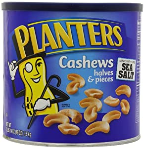 Planters Cashew Halves and Pieces made with Pure Sea Salt, 46-Ounce Tins (Pack of 2)