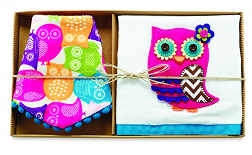 Mud Pie Owl Dribble Bib and Burp Boxed Set - 1