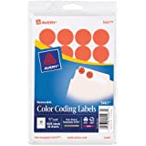 Avery Print/Write Adhesive Removable Labels, 0.75 Inch Diameter, Red Neon, 1008 per Pack  (5467)