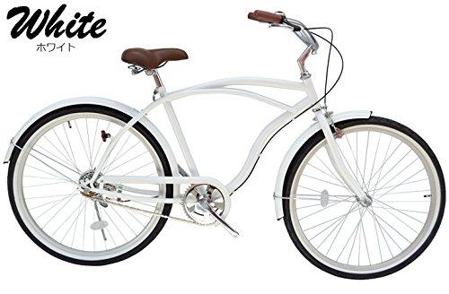 BC (ホワイト) 26インチ ビーチクルーザー サドル 極太タイヤ使用 26インチ 自転車