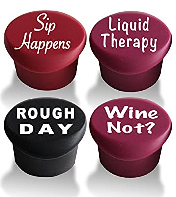 Wine Stoppers - Beer Bottle Caps (4-pack) - Best Wine Gifts Accessories to Label Your Personalized Wine Bottles and Racks. Seal Your Favorite Wine with Reusable Silicone Bottle Caps