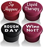 Wine Stoppers - Beer Bottle Caps (4-pack) - Best Wine Gifts Accessories to Label Your Personalized Wine Bottles and Racks. Seal Your Favorite Wine with Reusable Silicone Bottle Cap Art