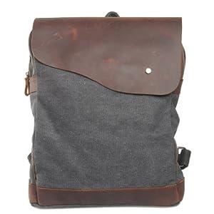 Canvas Leder Rucksack Backpack für Uni laptop Rucksack Reisetasche,38 x 33 x 14cm(H x B x T) (dunkel grau)