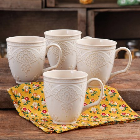 The Pioneer Woman Farmhouse Lace Mug Set,LINEN 4-Pack | Antique Finish Durable Stoneware Lace Mug Set, 4-Pack - LINEN (Marilyn Monroe Coffee Mug Set compare prices)