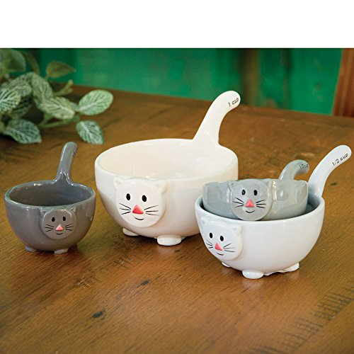 Bits and Pieces - Ceramic Cat Measuring Cups - Home and Kitchen Décor - Make Adorable Addition to Any Kitchen - Nest Together In a Cute Stack