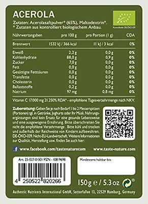 Taste Nature Acerola Pulver Bio, 1er Pack (1 x 150 g Packung) - Bio von Authentic Nutrients auf Gewürze Shop