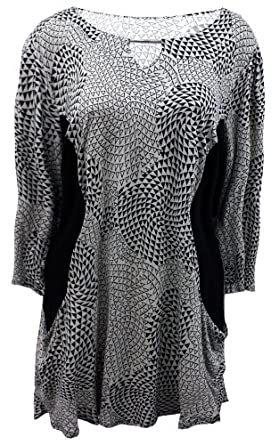 Ladies Plus Size Black and Stone Triange Print Pocketed Tunic #965
