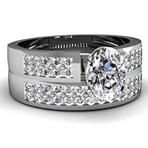 Fascinating Diamonds 1.30 Ct Oval Shaped Diamond Double Row Engagement Wedding Rings Set VS1 14K GIA