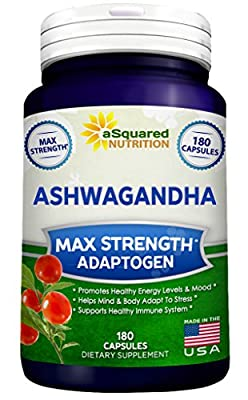 Pure Ashwagandha Supplement - 180 Capsules, Max Strength Ashwaganda Extract Root Powder, 100% Natural Withania Somnifera Ayurveda Formula, Herbal Adaptogenic India Ginseng Tablet Pills for Men & Women