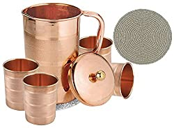Set of 4 Water Glasses and a Jug with lid, Copper Drinkware Set for Ayurvedic Healing, Capacity 1.6 Litre
