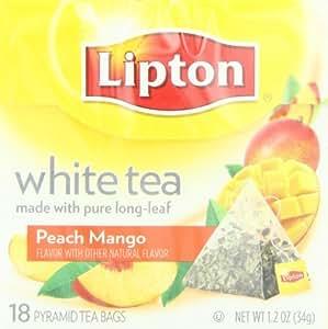 Lipton Pyramid Tea Bags, White Tea With Island Mango & Peach Flavor, 18-Count Tea Bags (Pack of 6)