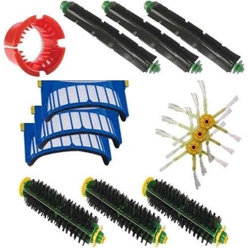 Shp-Zone Bristle Brush & Flexible Beater Brush & 6-Armed Side Brush & Aero Vac Filter & Brush Cleaning Tool Kit For Irobot Roomba 500 Series Roomba 536, Roomba550 , Roomba 551, Roomba 552, Roomba 564 (Only Compatible With Aerovac Bins) front-548911