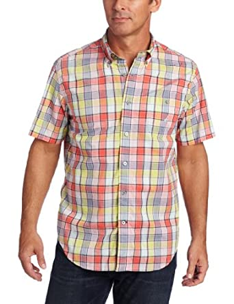 Nautica Men's Big-Tall Short Sleeve Madras, Seaside Red, 2X