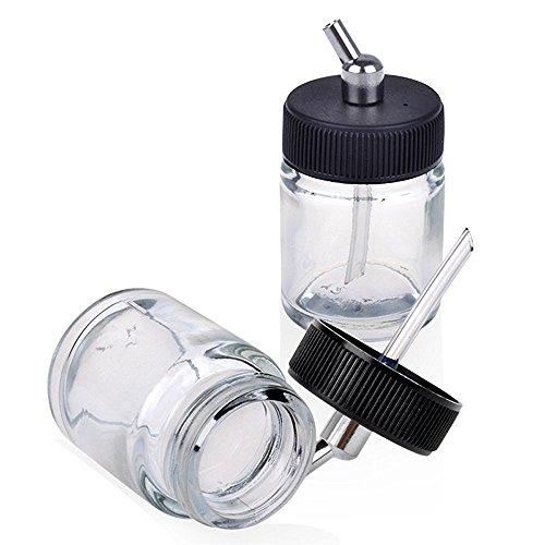 Pinkiou Airbrush Bottiglia di vetro Barattolo Airbrush Pot standard di aspirazione della pompa Coperchio per pistola a spruzzo (Confezione da 2)