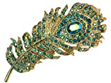 Faship Gorgeous Emerald Color AB Crystal Peacock Feather Pin Brooch thumbnail