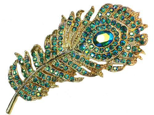 Faship Gorgeous Emerald Color AB Crystal Peacock Feather Pin Brooch image