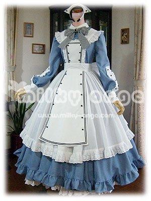 (ミルキーアンジェ) milky ange カフェメイド ニーナ ペールダッチブルー XL ロング メイド服