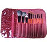 Makeup Brushes - Professional Make Up Brush Set - 10 Pcs Natural Hair + Luxurious Red Faux Leather Crocodile Organizer...