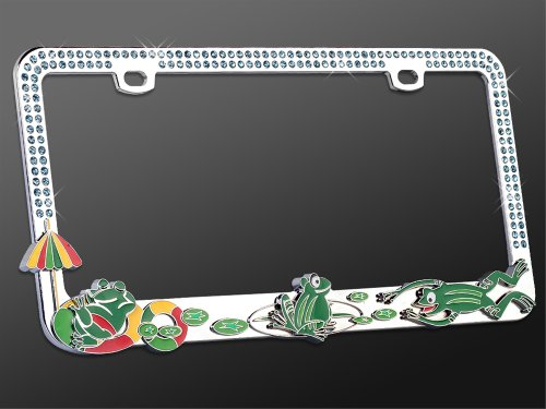 License Plate Frame - Metal Bling - Joyful Chillin Green Frogs on a Pond w/ Dazzling Blue Ocean Crystals