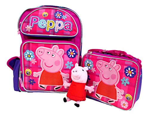 Peppa Pig Large 16″ Backpack Book Bag, Lunch Box & Plush Doll Set by Bag2School