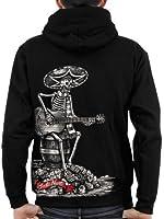 Sweat-shirt zippé à capuche Homme / Horreur / Santa Muerte Squelette qui joue de la guitare