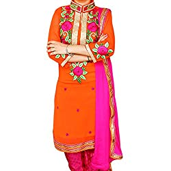 Reet Glamour Women 's Georgette Unstitched Orange And Magenta Punjabi Suit