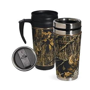Amazon com mossy oak camo leather wrap 2 cup travel mug set 1