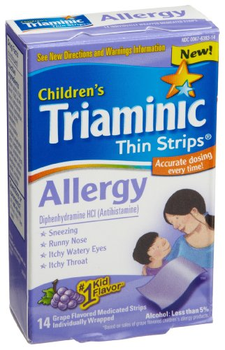 Triaminic Allergy Thin Strips, Grape Flavored, 14-Count Strips (Pack of 2)