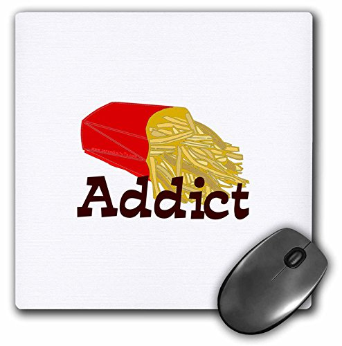 3dRose LLC 8 x 8 x 0.25 Inches French Fry Addict Mouse Pad (mp_12497_1)