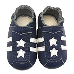 Sayoyo Baby Stars Soft Sole Leather Infant Toddler Prewalker Shoes(0-6 months,Navy blue)